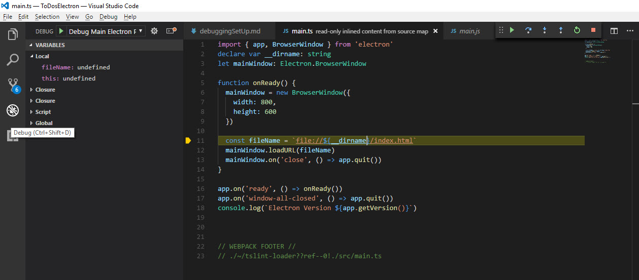 Setting up VS Code Debugging for TypeScript Electron application