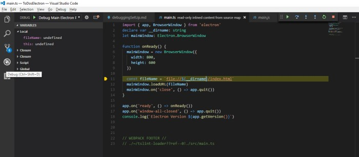 Setting up VS Code Debugging for TypeScript Electron